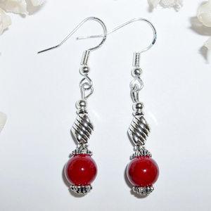 Dark Red & Silver Dangle Earring Set Drop NWT 4096